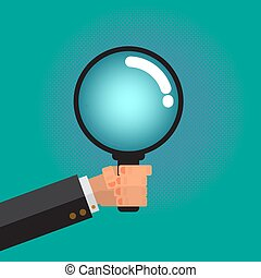 Magnifying glass in Male Business man Hand.