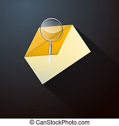 Magnifying Glass in Yellow Envelope Icon