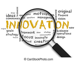 Magnifying Glass with innovation words on white background
