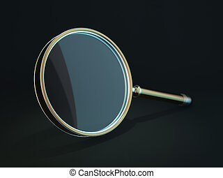 Magnifying glass isolated on dark background. 3D