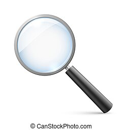 Magnifying glass isolated on white vector illustration
