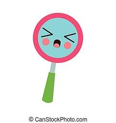 Magnifying glass kawaii cartoon