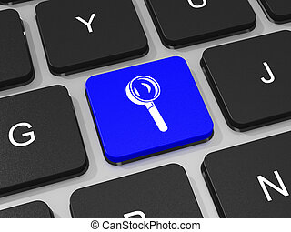 Magnifying glass key on keyboard of laptop computer. Search concept. 3D illustration.