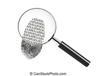 Magnifying glass looking at a fingerprint and showing binary...