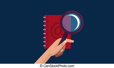 Magnifying glass looking in address book HD animation -...