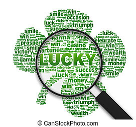 Magnifying Glass - Lucky - Magnified Clover leaf with the...