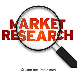 Magnifying Glass with the word Market Research on white background.