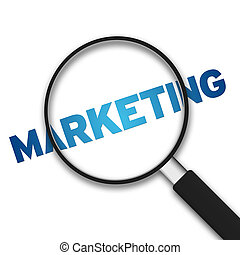 Magnifying Glass with the word marketing on white background