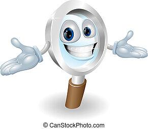 Magnifying glass mascot