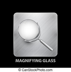 Magnifying glass mobile app button