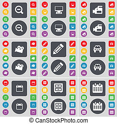 Magnifying glass, Monitor, Film camera, Pencil, Car, Calendar, Bed-table icon symbol. A large set of flat, colored buttons for your design.