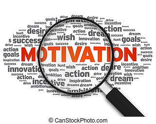 Magnified illustration with the word Motivation on white background.