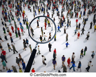 Magnifying glass on a large group of people. 3D Rendering