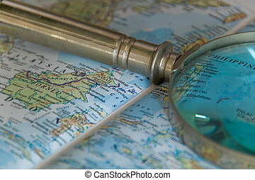Magnifying glass on a map