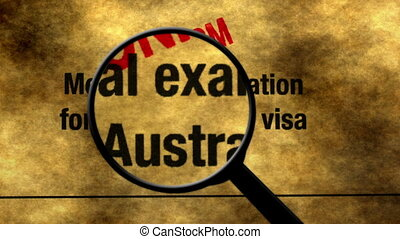 Magnifying glass on australian visa search concept