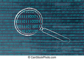 magnifying glass on binary code, concept of pattern...