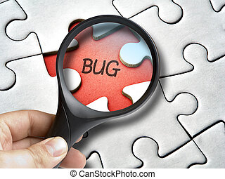 Magnifying glass on bug that is a missing tile of the puzzle