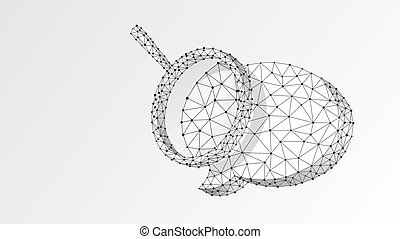 Magnifying glass on Chat bubble. Communication analysis, Dialogue cloud concept. Abstract, digital, wireframe, low poly mesh, Polygonal Vector white origami 3d illustration. Triangle line dot