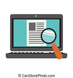 Magnifying glass on computer