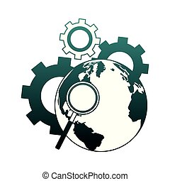Magnifying glass on earth and gears blue lines