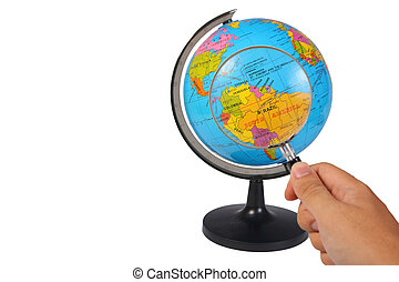 Magnifying Glass on Earth Globe on White