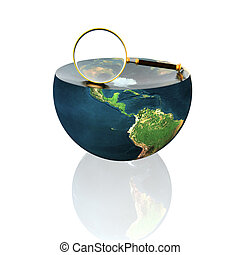 magnifying glass on earth hemisphere isolated on white