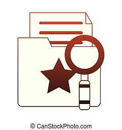 Magnifying glass on folder with documents red lines