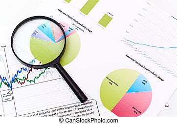 magnifying glass on graph business search