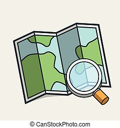 Magnifying glass on map icon. Travel concept. Modern design.