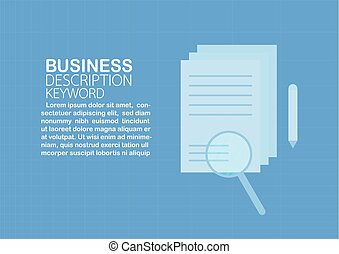 Magnifying glass on the paper with text space isolated on blue background. Vector illustration on flat design.
