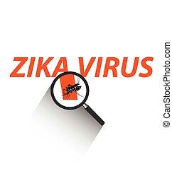 Magnifying glass on Zika virus text