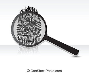 magnifying glass over a Fingerprint