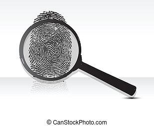 magnifying glass over a Fingerprint - Illustration of a...