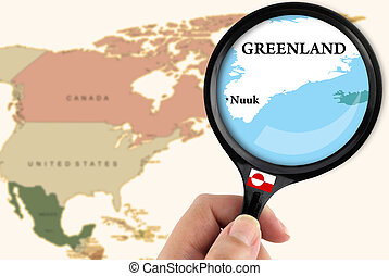 Magnifying glass over a map of Greenland