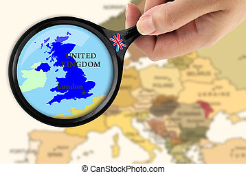Magnifying glass over a map of United Kingdom