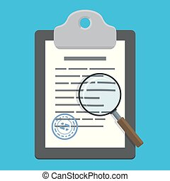 Magnifying glass over clipboard with document (contract) on blue background. Vector illustration in flat style