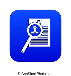 Magnifying glass over curriculum vita icon digital blue for ...