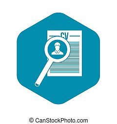 Magnifying glass over curriculum vita icon in simple style ...