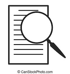 magnifying glass over document vector icon