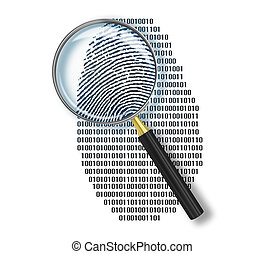 Magnifying glass over finger printlike shape made of binary...