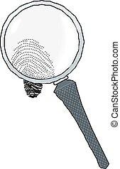 Magnifying glass over fingerprint vector illustration