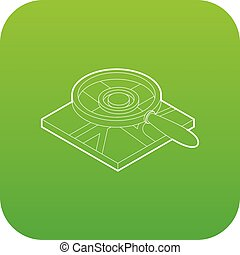 Magnifying glass over map icon green vector