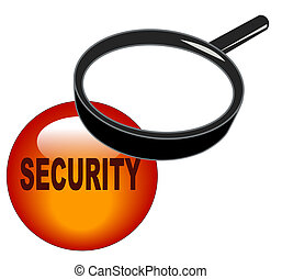 magnifying glass over security button