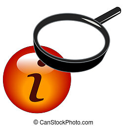 magnifying glass over top of information button