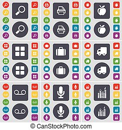 Magnifying glass, Printer, Apps, Apps, Suitcase, Truck, Cassette, Microphone, Graph icon symbol. A large set of flat, colored buttons for your design. Vector