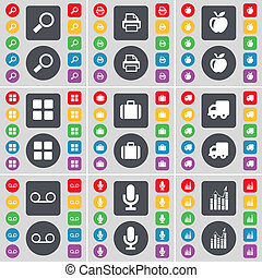 Magnifying glass, Printer, Apps, Apps, Suitcase, Truck, Cassette, Microphone, Graph icon symbol. A large set of flat, colored buttons for your design.