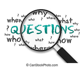 Magnified illustration with the word Questions on white background.