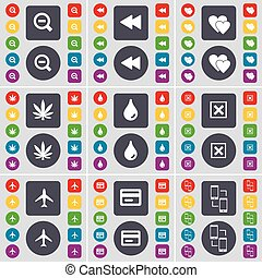 Magnifying glass, Rewind, Heart, Marijuana, Drop, Stop, Airplane, Credit card, Connection icon symbol. A large set of flat, colored buttons for your design. Vector