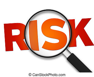 Magnifying Glass with the word Risk on white background.