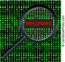 magnifying glass scanning data and found ransomware